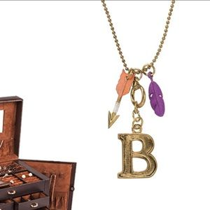 "Monogram Letter ""B"" Charm Necklace on 30"" Chain"